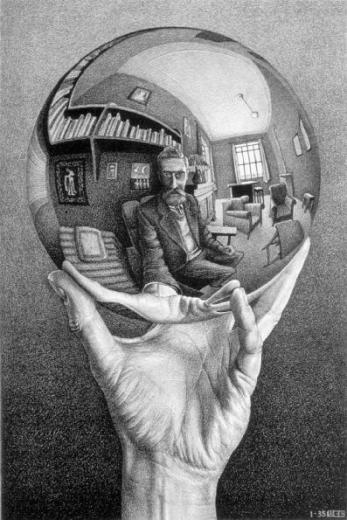 Self Portrait in Spherical Mirror by M. C. Escher